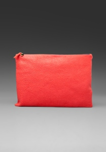 clare vivier over sized laptop clutch in red pebble